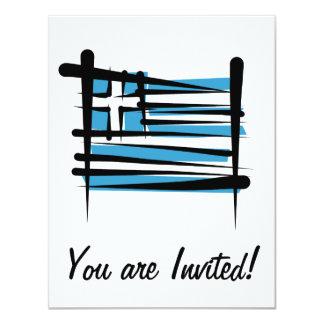 Greece Brush Flag Custom Announcements