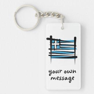 Greece Brush Flag Rectangular Acrylic Key Chains