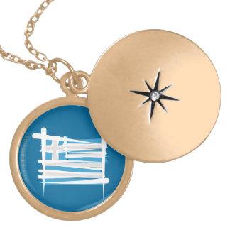 Greece Brush Flag Locket Necklace