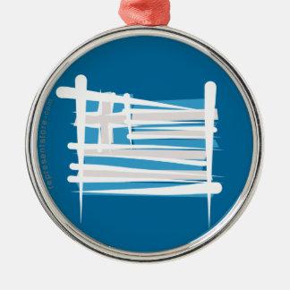 Greece Brush Flag Metal Ornament