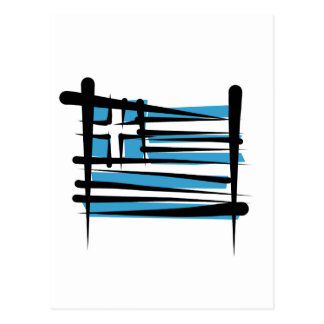 Greece Brush Flag Postcard