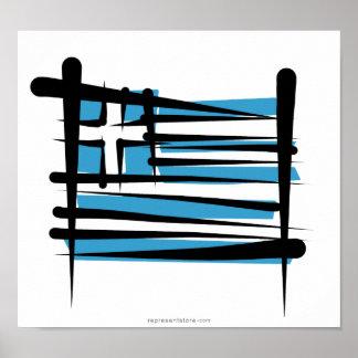 Greece Brush Flag Poster