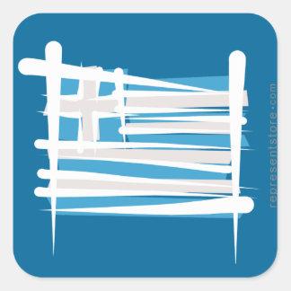 Greece Brush Flag Square Sticker