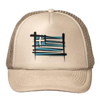 Greece Brush Flag Trucker Hat