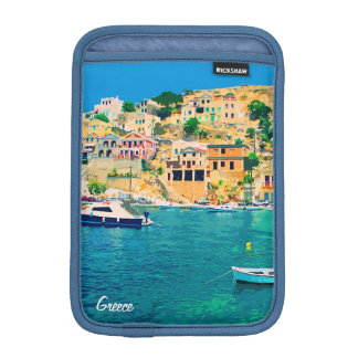 Greece building and boats at beach iPad mini sleeve