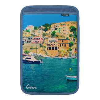 Greece building and boats at beach MacBook sleeve