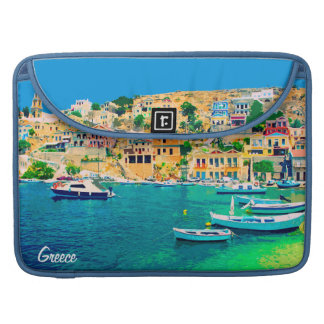 Greece building and boats at beach sleeve for MacBook pro