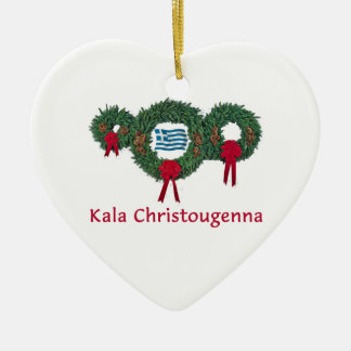 Greece Christmas 2 Double-Sided Heart Ceramic Christmas Ornament