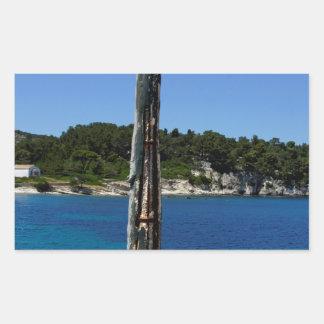 greece coast rectangular sticker