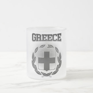 Greece Coat of Arms Frosted Glass Coffee Mug