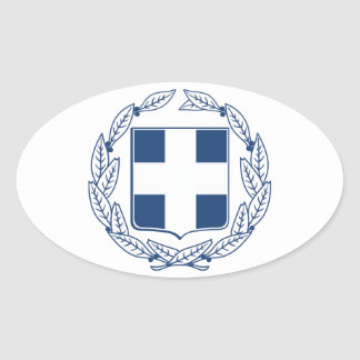 Greece Coat of Arms Oval Sticker