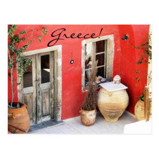 Greece colorful home postcard