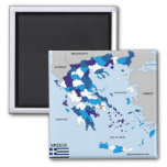 greece country political map flag greek 2 inch square magnet