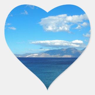 Greece, Crete - a view of the gulf of Mirabello. Heart Sticker