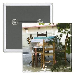 GREECE, CRETE, Hania Province, Vamos: Cafe Table Pinback Button