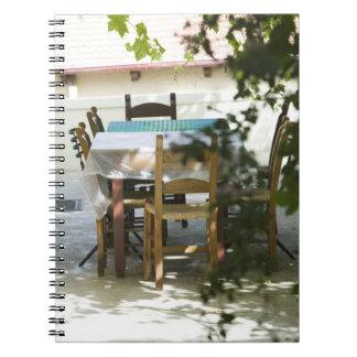 GREECE, CRETE, Hania Province, Vamos: Cafe Table Notebook