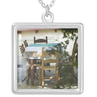 GREECE, CRETE, Hania Province, Vamos: Cafe Table Silver Plated Necklace
