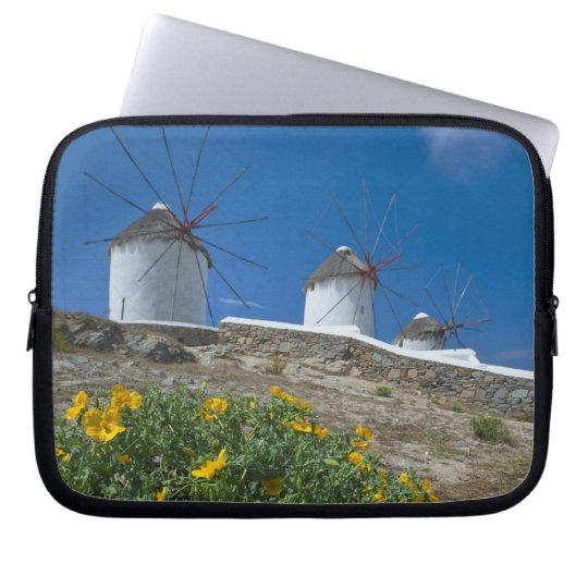 Greece, Cyclades Islands, Mykonos, Flowers near Laptop Sleeve