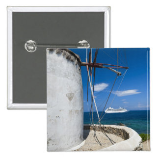 Greece, Cyclades Islands, Mykonos, Old windmill 2 Inch Square Button