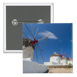 Greece, Cyclades Islands, Mykonos, Old windmills 2 Inch Square Button