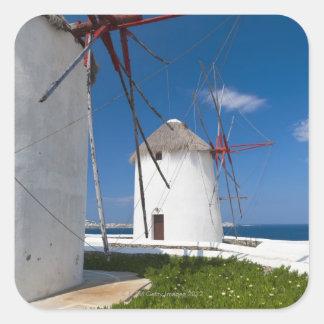 Greece, Cyclades Islands, Mykonos, Old windmills 2 Square Sticker