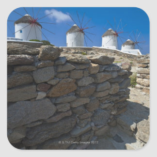 Greece, Cyclades Islands, Mykonos, Stone wall Square Sticker