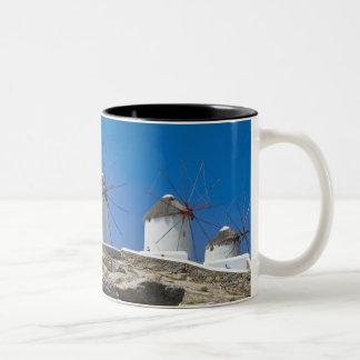 Greece, Cyclades Islands, Mykonos, Stone wall Two-Tone Coffee Mug