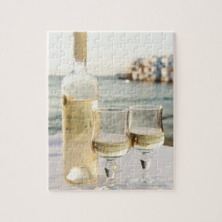Greece, Cyclades Islands, Mykonos, Wine on table Jigsaw Puzzle