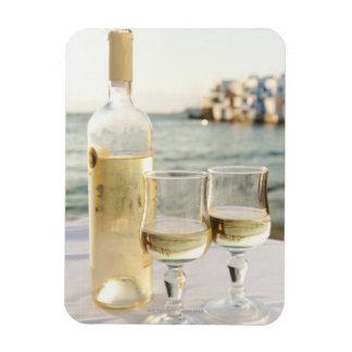 Greece, Cyclades Islands, Mykonos, Wine on table Magnet