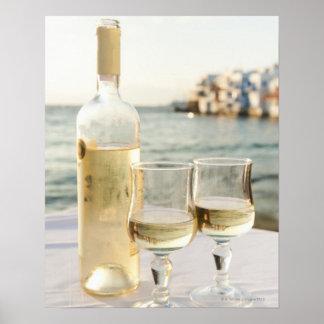 Greece, Cyclades Islands, Mykonos, Wine on table Posters