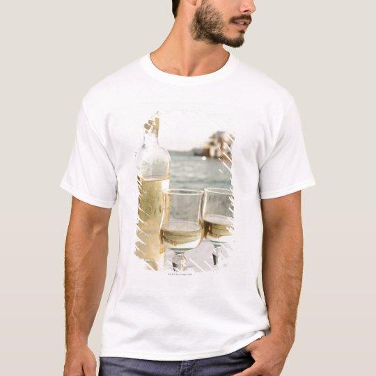 Greece, Cyclades Islands, Mykonos, Wine on table T-Shirt