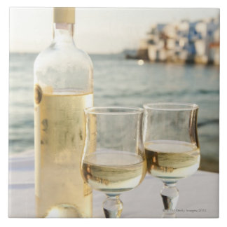 Greece, Cyclades Islands, Mykonos, Wine on table Tile