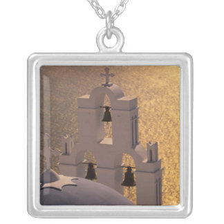 Greece, Cyclades Islands, Santorini, Thira, Silver Plated Necklace