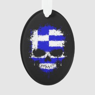 Greece Dripping Splatter Skull Ornament