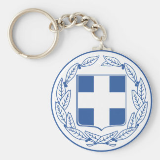 greece emblem basic round button keychain