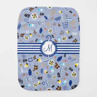 Greece: famous items of the country baby burp cloth