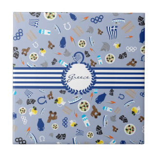 Greece: famous items of the country tile