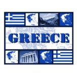 Greece Flag and Map Postcard