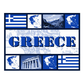 Greece Flag and Map Postcard