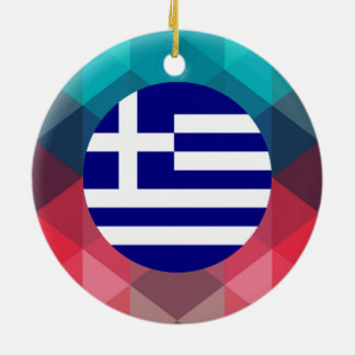 Greece flag circle on modern bokeh Double-Sided ceramic round christmas ornament