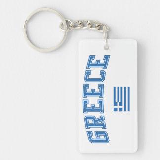 Greece + Flag Double-Sided Rectangular Acrylic Keychain