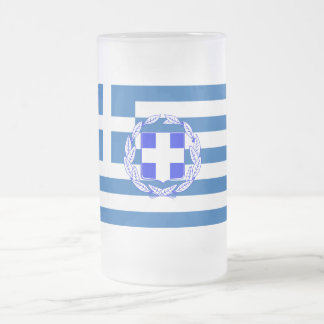 Greece flag frosted glass beer mug