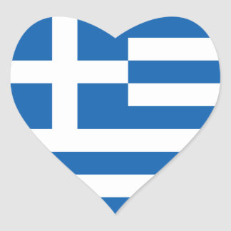 Greece Flag GR Heart Sticker