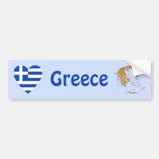 Greece Flag Heart + Map Bumper Sticker