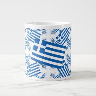 Greece Flag in Multiple Colorful Layers Askew Jumbo Mugs