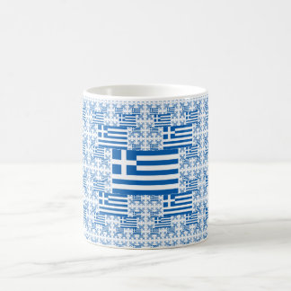 Greece Flag in Multiple Colorful Layers Coffee Mug