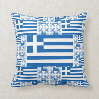 Greece Flag in Multiple Colorful Layers Throw Pillow