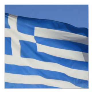 "Greece Flag 5.25"" Square Invitation Card"