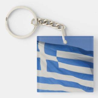 Greece Flag Square Acrylic Key Chain