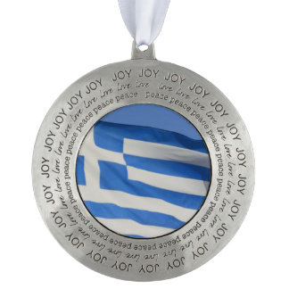 Greece Flag Round Pewter Christmas Ornament